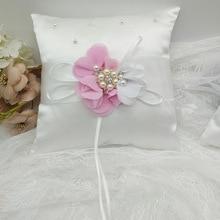 1pc White Flower Pearl Wedding Ring Pillow Girl Basket Bridal Bearer Cushion Pink/Purple/Royal Blue 20x20cm