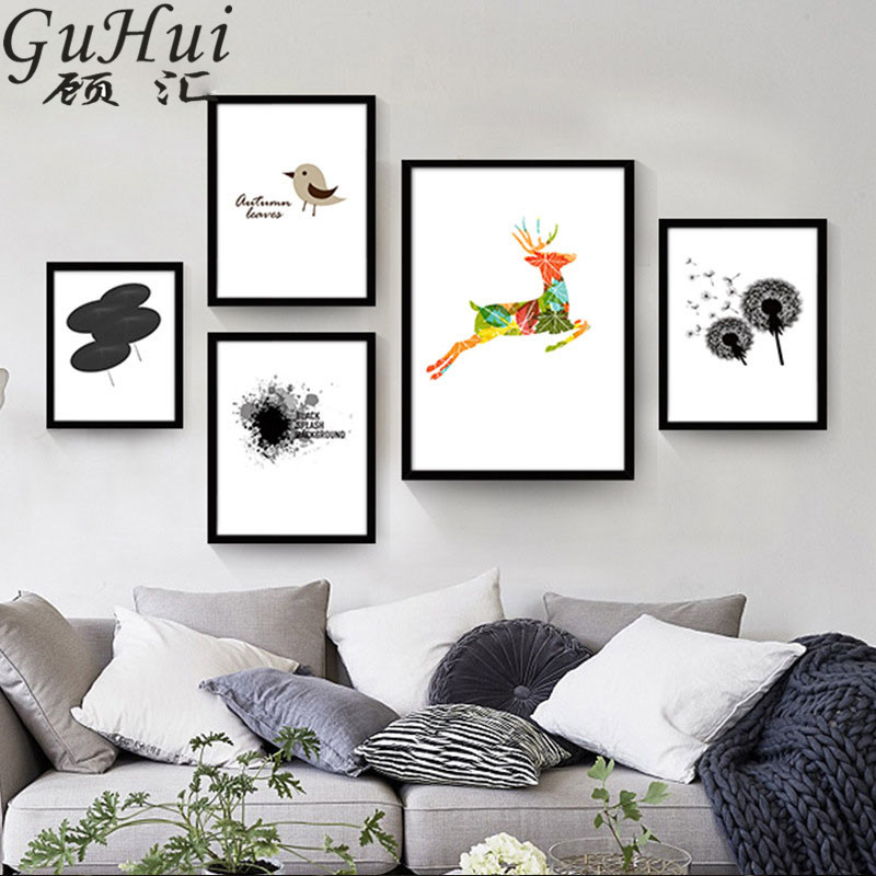 336 48 De Réductionnordique Coloré Cerf Toile Décorative Peinture Minimaliste Noir Blanc Pissenlit Dessin Animé Oiseau Parapluie Photos Art