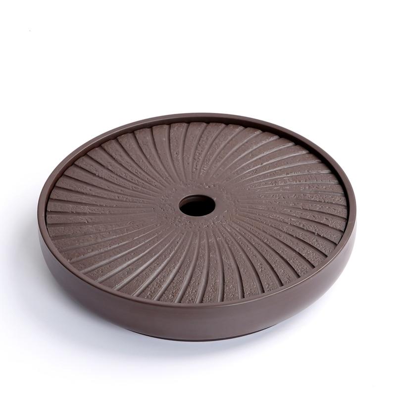 PINNY Yixing Purple Clay Round Tea Tray 20.7*20.7*4.2cm Chinese Tea Ceremony Table Hand Made Kung Fu Tea Tray Teapot Crafts Tray 2