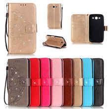 цена на Luxury Bling Book Style PU Leather Flip Butterfly Case Cover For Samsung Galaxy S3 I9300/S3 Mini I8190 Phone Bags+Strap