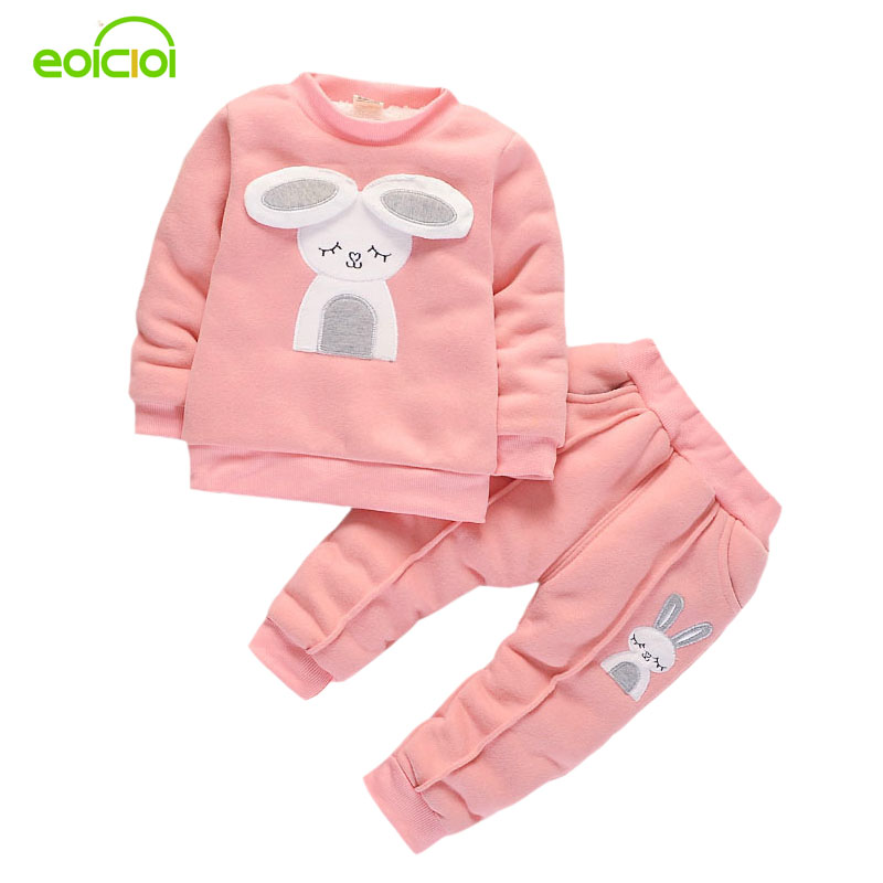 EOICIOI new arrivals 2017 autumn winter baby girls clothing sets cotton cute rabbit hoodies coats+long pants outfit kids clothes