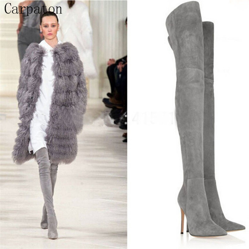New Design Pointed Toe Over Knee Boots Winter Genuine Leather Woman Boots Suede Leather High Heel Shoes Sexy Long Boots avvvxbw 2016 new brand long boots fashion elastic over the knee boots shoes woman square heel genuine leather thigh high boots