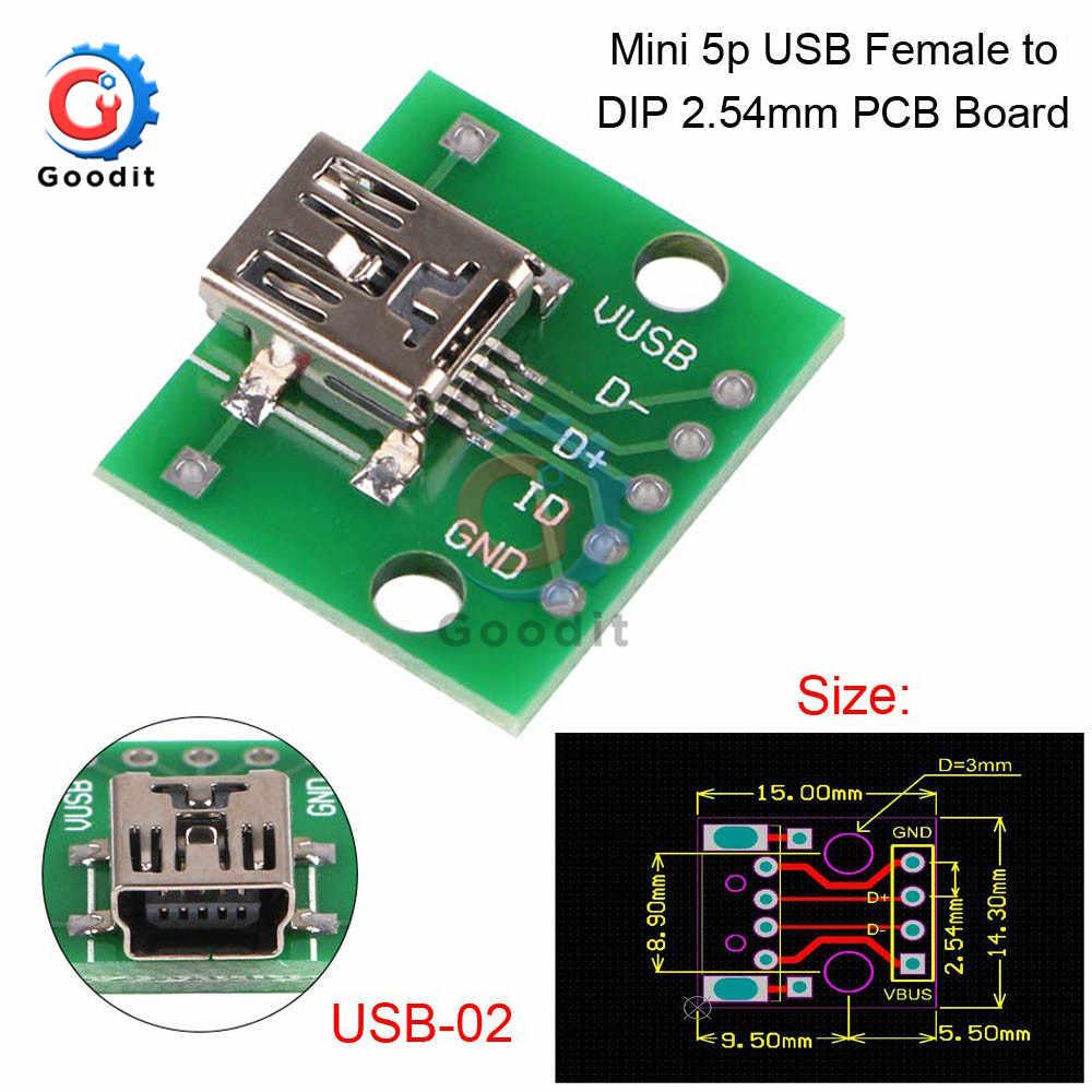 Micro Mini USB USB A Male USB 2.0 3.0 A Female USB B Connector Interface to 2.54mm DIP PCB Converter Adapter Breakout Board