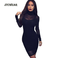 JTCWEAR Sexy Lace See Through Turtle Neck 2 Pieces Set Dress Long Sleeve Mesh Night Club Party Dance  Fitted Dress 220