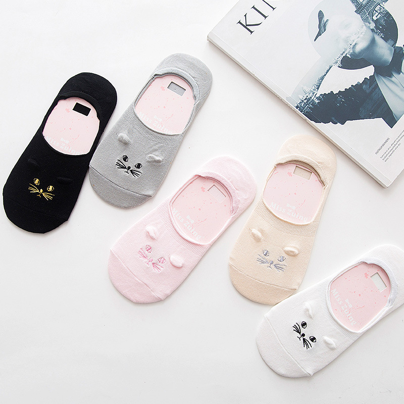 2017 New Summer Pure Cotton Women Sock Slippers Antiskid Invisible Socks Thin Cute Cat Booties Candy Color Ankle Socks for Girl