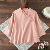 WYNNE GADIS Indie Folk Vintage Floral Embroidery Tees Tops Loose Handmade Button Hanfu T shirts for Female's Top Clothing