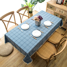 Senisaihon Polyester Jacquard Tablecloth Pastoral Tassel Lace Red  Striped Rectangular Dining Table cloth Banquet Cover