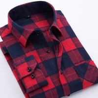 2017 Men S Long Sleeve Plaid Brushed Flannel Shirt With Left Chest Pocket Slim Fit Soft