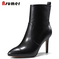 ASUMER 2020 new hot sale autumn boots simple pointed toe ankle boots classic black comfortable genuine leather boots for women