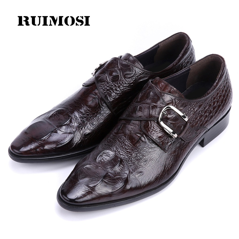 RUIMOSI 2017 Hot Crocodile Man Dress Wedding Shoes Genuine Leather Luxury Brand Oxfords Men's Pointed Toe Flats For Bridal EC55
