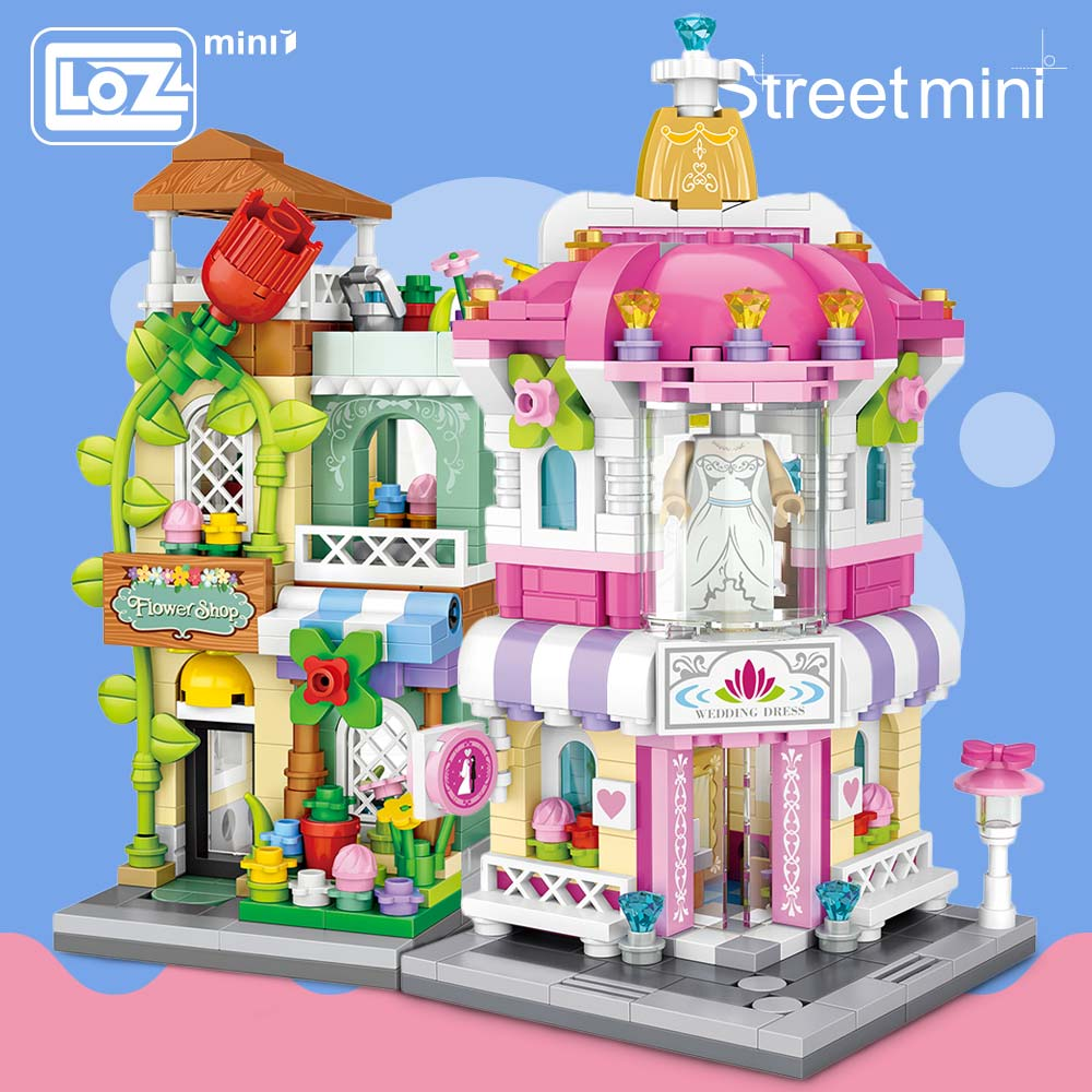 LOZ Mini Block Architecture Model Building Blocks City Series Mini Street Store Perfume Shop Cinema House Toy Children Bricks