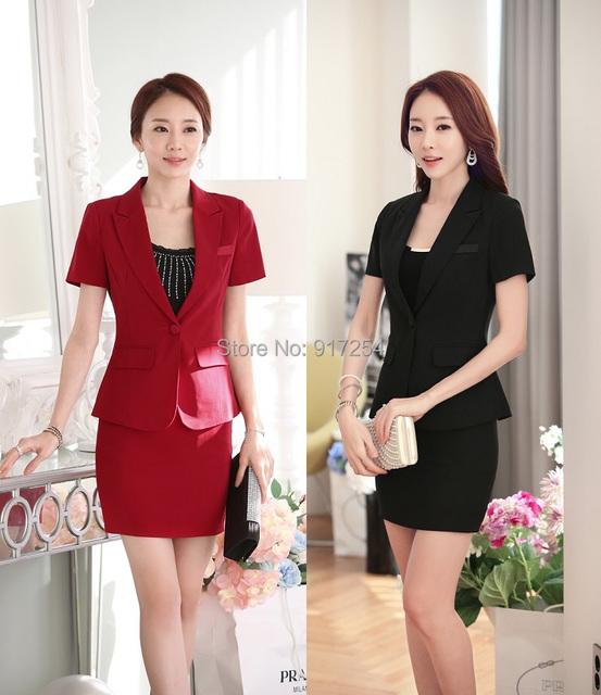 Novo Design Uniforme Escritório Ladies Trabalho Formal Vermelho Ternos Blazers Jaquetas E Roupas Saia 2015 Verão de Alta Qualidade de Negócios Conjunto