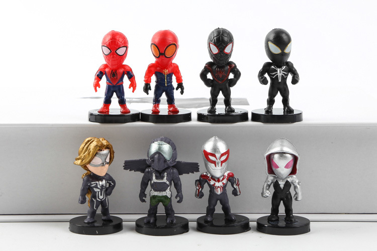 8PCS/Lot Marvel Spiderman Homecoming Mini Action Figures Black Venom Small Spider man Figurines Kids Toy Dolls Amazing Flevans