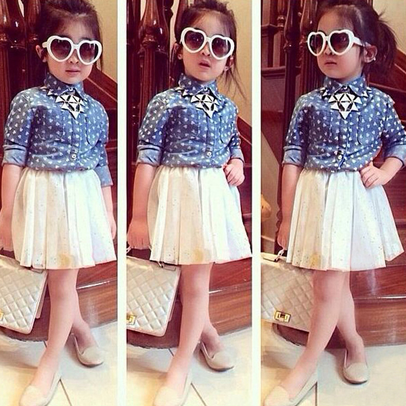 Baby Girl Clothes Summer 3piece/sets Brand Clothing Factory Jeans Shirt and Skirts Fashion Toddler Wear