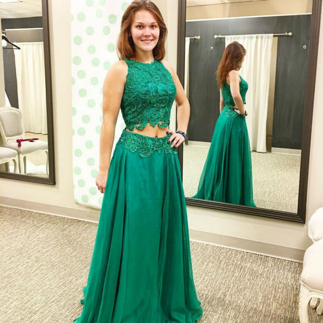 d0ffe56b6a 2 Piece Emerald Green Prom Dress High Collar Lace Turquoise Party Dress  Chiffon Graduation Evening Dresses Plus Size Custom