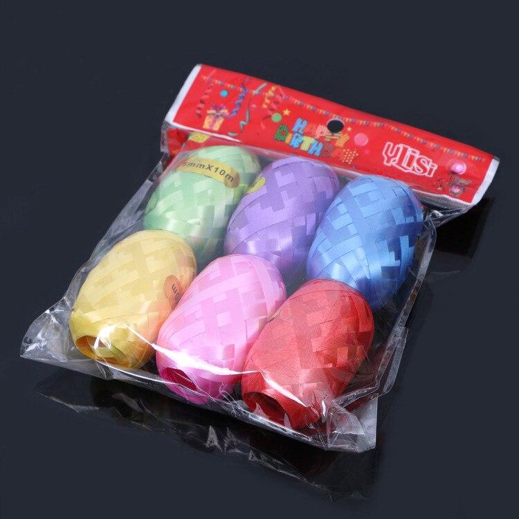 6 шт./лот фольгированная лента для воздушных шаров 5 мм * 10 м для вечерние Ринок, свадебных подарков, оформления детской вечевечерние, игрушки,...
