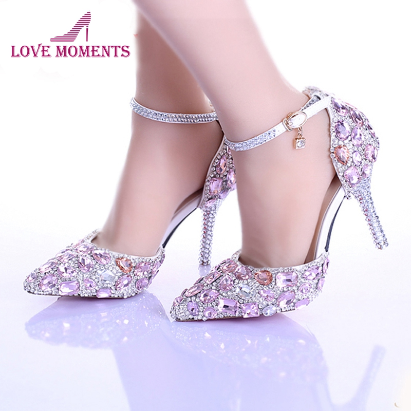все цены на Summer New Arrival Pink Crystal Bridal Shoes Ankle Strap Pointed Toe Luxury Princess Wedding Shoes Women Party Prom Shoes