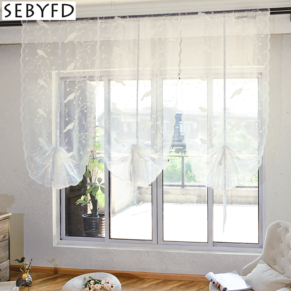 Modern Pastoral Style Curtains Tulle for Window Treatment Sheer Organza Embroidery White Little Bird Pattern