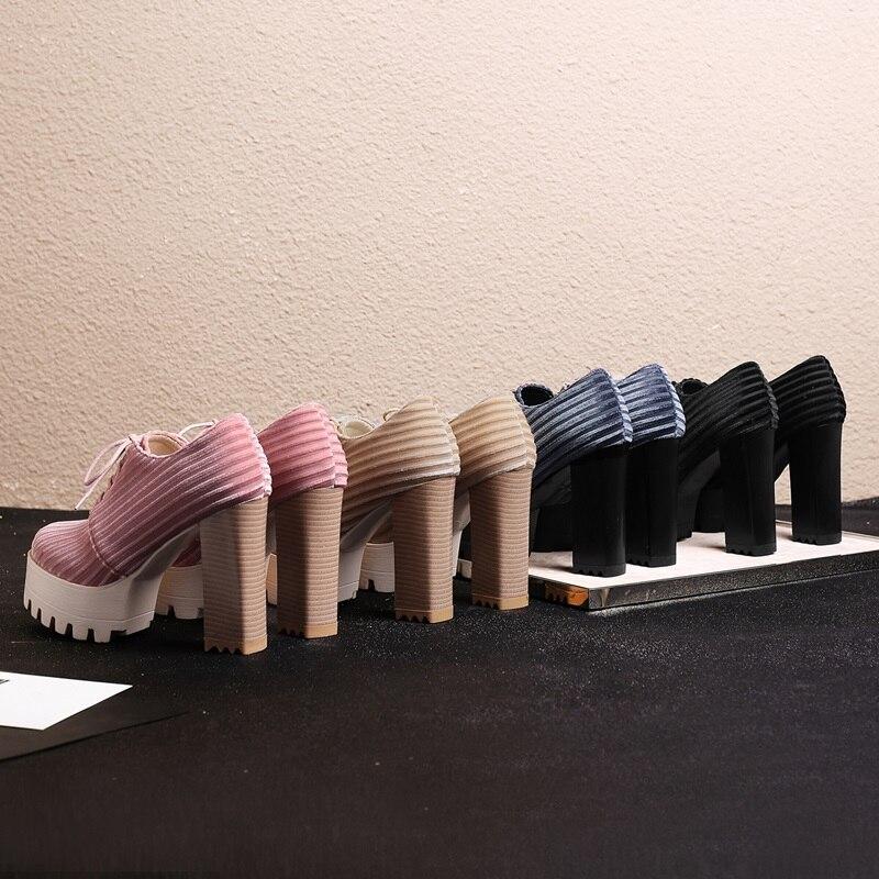Moda Las black Plataforma Cuadrado Zapatos Fiesta Cuatro Primavera Egonery grey Redonda Beige Tacón Mujeres Colores 11 Punta Nueva Atado Cm De pink 2019 Mujer nPCxfqYw