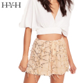 HYH HAOYIHUI Autumn Women A-Line Shorts Sexy Sequin Bohemian High-waist Mini Shorts Beach Party Soild Female Shorts