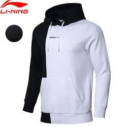 Мужская толстовка с капюшоном Li-Ning, теплая флисовая Свободная кофта, 34% хлопка, 66% полиэстера, с подкладкой li ning, спортивные топы, AWDN811, MWW1509