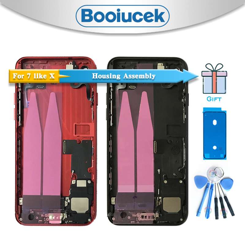 Cep telefonları ve Telekomünikasyon Ürünleri'ten Cep telefonu yuvası'de Yüksek Kalite iphone 7 7G Gibi X Tarzı Geri Tam Konut Meclisi Pil Kapağı Kapı Arka Orta Çerçeve Şasi Flex kablo