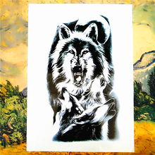 Black Wolves Temporary Body Art Flash Tattoo Sticker, 20x12cm Waterproof Tatto Henna Tatoo Style Adult Sex Products