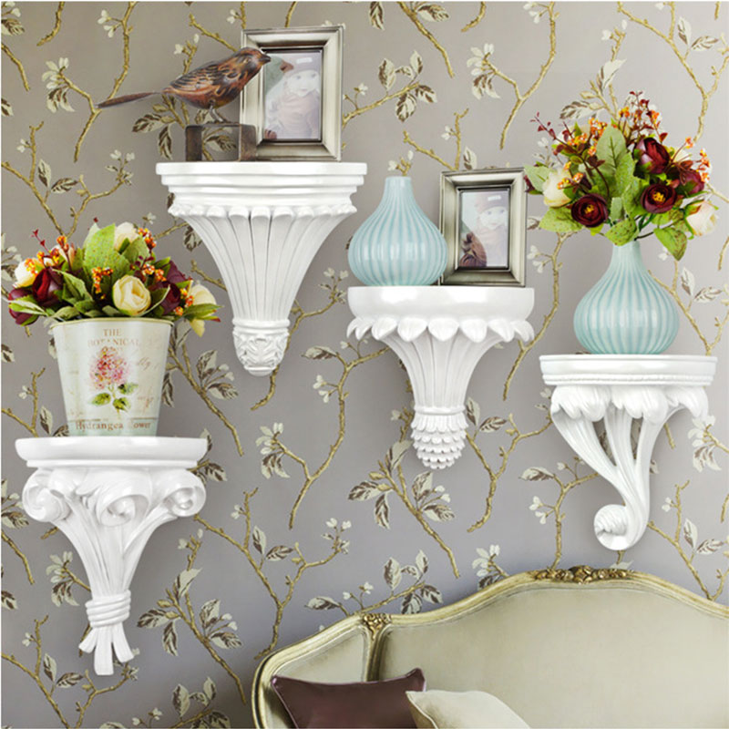Decorative Shelf European Wall Decor White Gold Shelves Wall-mounted Bathroom Accessories Storage Shelf Organizer Rack Holder
