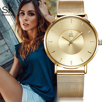 Shengke SK Fashion Black Women Watch Stainless Steel Ultra Thin Quartz Watch Woman Elegant Dress Ladies