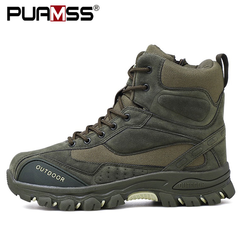 Men Boots Casual-Shoes Ankle-Rubber Outdoor-Work Military New