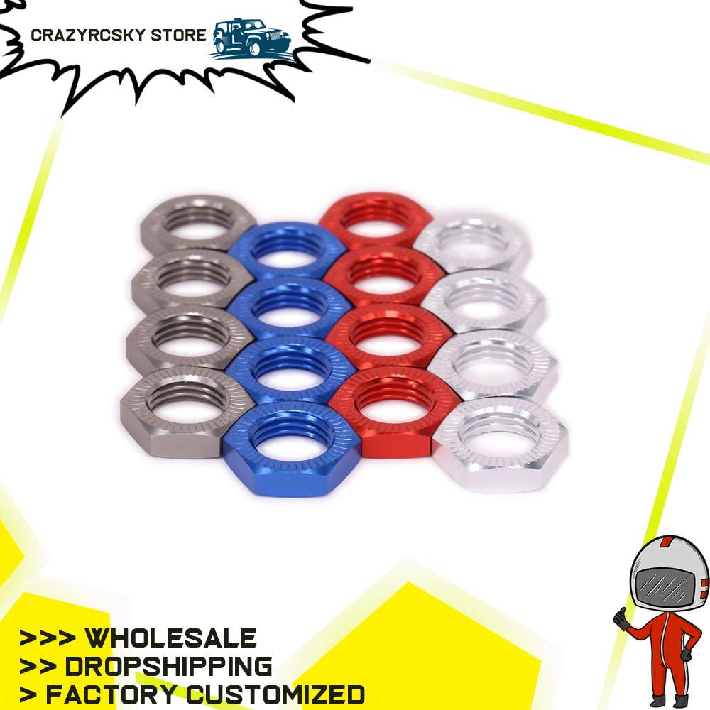 RCAWD 4PCS <font><b>17mm</b></font> <font><b>Wheel</b></font> Hex Adapter Nut Thread Pitch 1.25mm For Some <font><b>RC</b></font> Hobby Model Car Hobao N10219 <font><b>Wheel</b></font> Nut <font><b>1/8</b></font> image