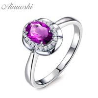 AINUOSHI Natural Amethyst Flower Halo Ring Pure 925 Sterling Silver Gemstone Ring 1.25ct Oval Cut Engagement Jewelry Women Ring