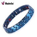 Rainso Healing Magnetic Bracelet Men 316L Stainless Steel bracelets Bio energy (Magnetic,FIR,Germanium) Blue Bracelet Hand Chain