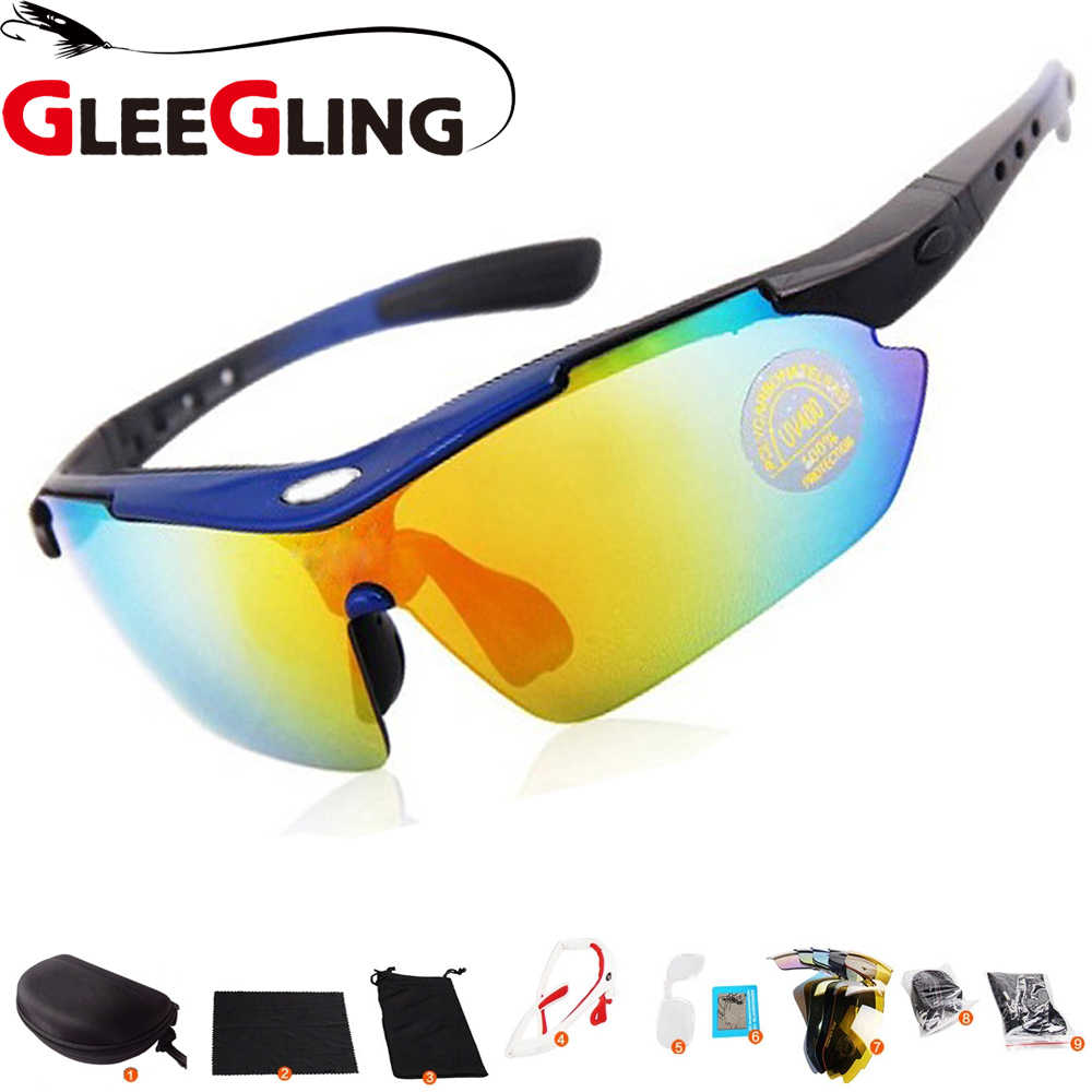 b1b09f15424f GLEEGLING 9400 1Set 5 Lens Sunglasses Over Prescription Glasses Sport  Zonnebril Fishing Polarized Clip Gafas Sol