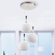 Home Dining Room Kitchen Pendant Lamps Modern White Restaurant Coffee Bedroom Pendant Lights Iron With Led Bulbs AC110V/220V E27