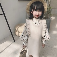 Spring Fall girls 2 pcs set baby blouse + knitted dress kids fashion suit children clothes flying sleeve leopard puff 2 to 8 yrs