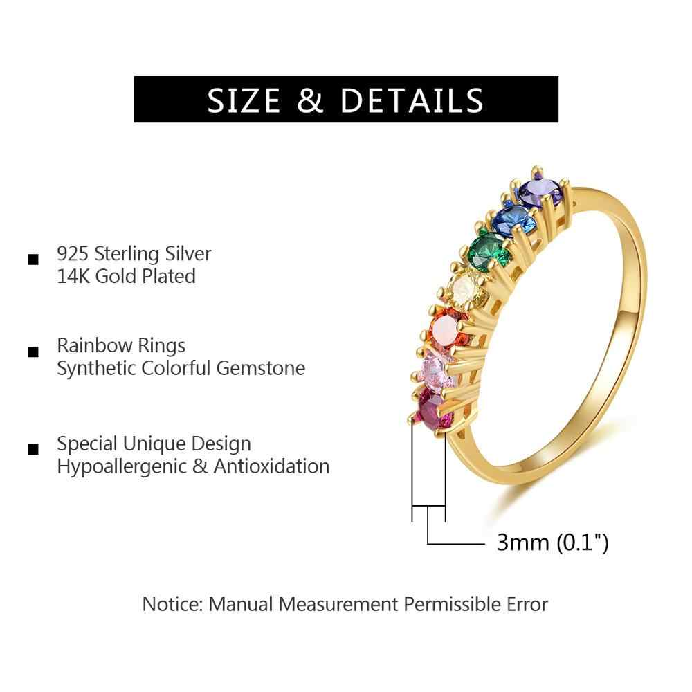 E 925 เงินสเตอร์ลิง Rainbow แหวน 14K Gold Plated แหวนหมั้นที่มีสีสันอัญมณีแหวนเงิน 925 2019