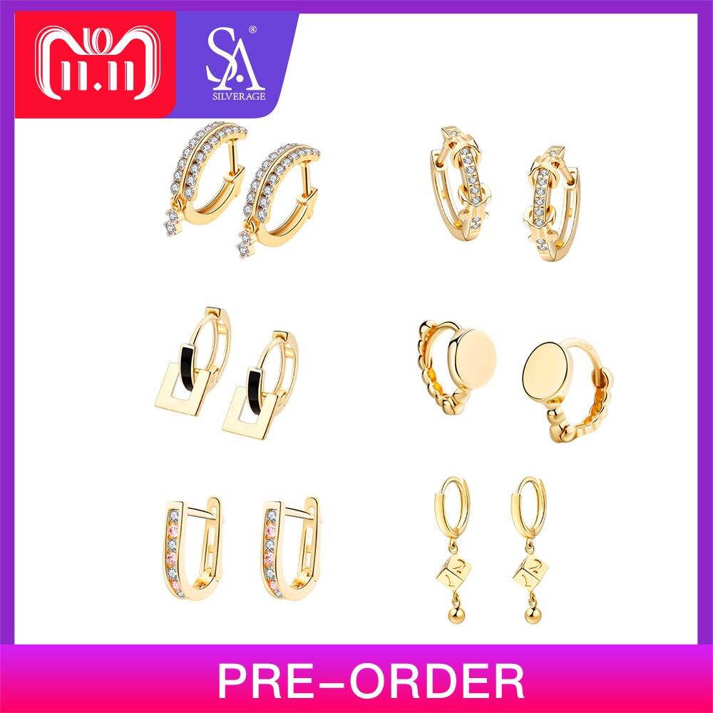 SA SILVERAGE 925 Sterling Silver Gold Plated Hoop Earrings for Women AAA Zirconia Hanging Earrings 925 Silver Earrings Six Shape starry pattern gold plated alloy rhinestone stud earrings for women pink pair