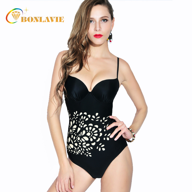 2017 Black Floral One Piece Swimsuit Push Up Monokini Large Size Swimwear Swimming Suit for Women Vintage Trikini large size one piece swimsuit 2017 women floral swimwear push up swimming suit dress monokini 3xl 7xl bathing suits with skirt