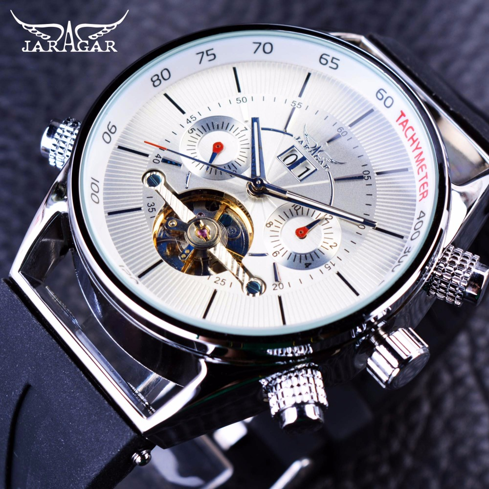 Jaragar Mens Watches Top Brand Luxury Automatic Fashion Sport Watch Shark Lines Design Rubber Band Tourbillion Display Calendar