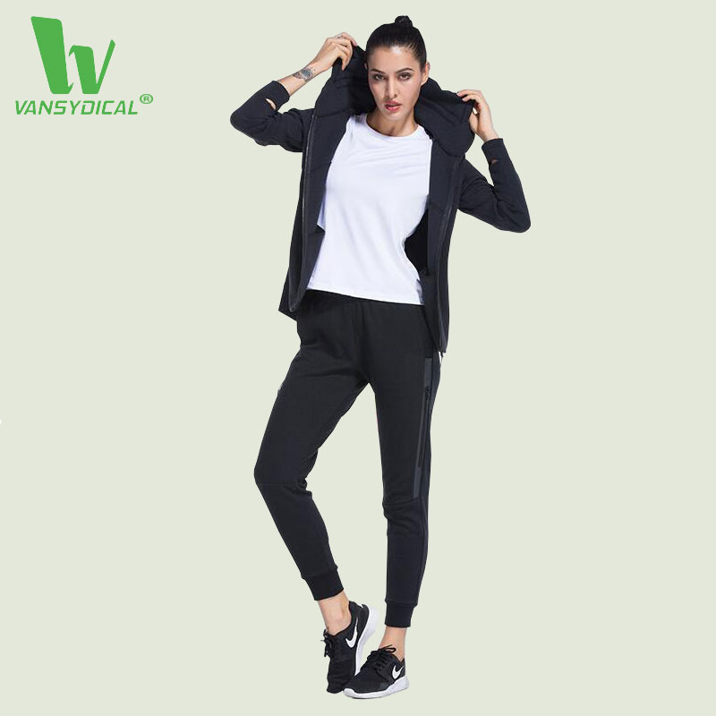 VANSYDICAL Running Sets Women Fitness Sports Jogging Femme Survetement Breathable Quick Dry Cotton Sports Suit Women Yoga Sets M women s running jackets 2017 spring new long sleeve running jacket yoga gym fitness tight tops quick dry breathable sports coat