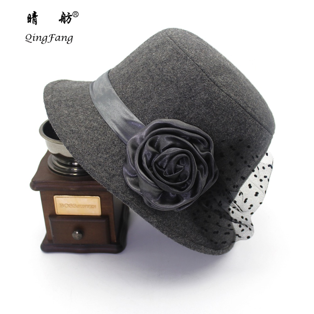new fashion roses dome hat boutique fashion rose flower ladies dome hat with gauze wool felt hat title=
