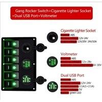Digital Voltmeter Cigarette Socket Double USB Power Charger Adapter Flush Mount Waterproof 6 Gang Rocker Switch Panel