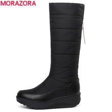 hot deal buy morazora 2018 new warm snow boots women thick fur ladies mid calf boots tassel soft pu leather platform women's winter boots