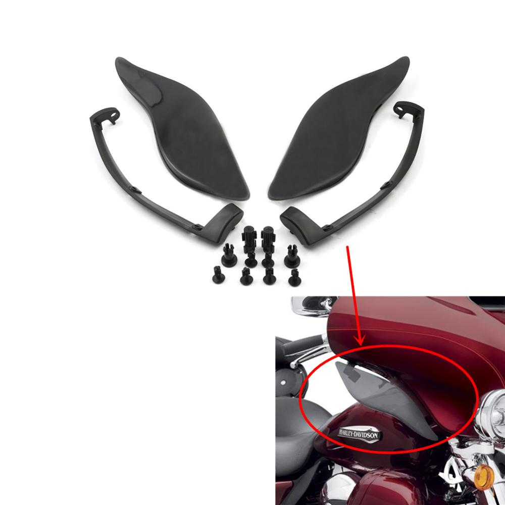 Chrome Adjustable Fairing Side Wings Air Deflectors For Harley Touring 2014-2017