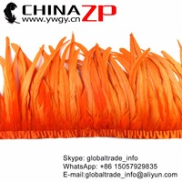CHINAZP Feathers Retail and Wholesale 12 14 inch Width Orange Dyed Rooster Tail Feather Fringe Trim for Carnival Costume