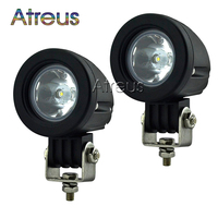 2Pcs 2Inch 10W Car LED Work Light 12V Round Spot Flood DRL For ATV 4X4 Truck