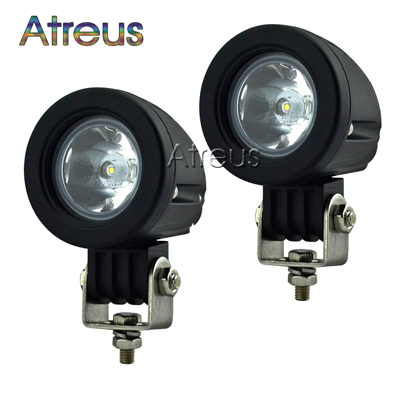 2Pcs 2Inch 10W Car LED Work Light 12V Round Spot Flood DRL For ATV 4X4 Truck Offroad Trailer Bicycle Motorcycle Fog Lamp Lights