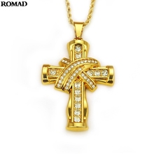 ROMAD Fashion Men AAAAA Zircon Cross Pendant Gold Color Stainless Steel Pendants Necklace Hip Hop Jewelry Decor A40