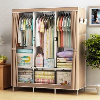 Simple Cabinet Storage Wardrobe Dust-proof Wardrobe Steel Frame Reinforcement Combination Clothing Closet Bedroom Organizer